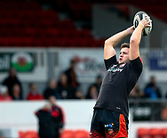 Elliot Dee of Dragons during the pre match warm up<br /> <br /> Photographer Simon King/Replay Images<br /> <br /> Guinness PRO14 Round 12 - Dragons v Ospreys - Sunday 30th December 2018 - Rodney Parade - Newport<br /> <br /> World Copyright © Replay Images . All rights reserved. info@replayimages.co.uk - http://replayimages.co.uk