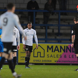 TELFORD COPYRIGHT MIKE SHERIDAN RED CARD Riccardo Calder is sent off during the FA Trophy Round 1 fixture between AFC Telford United and Leamington at the New Bucks head Stadium on Tuesday, December 17, 2019.<br /> <br /> Picture credit: Mike Sheridan/Ultrapress<br /> <br /> MS201920-034