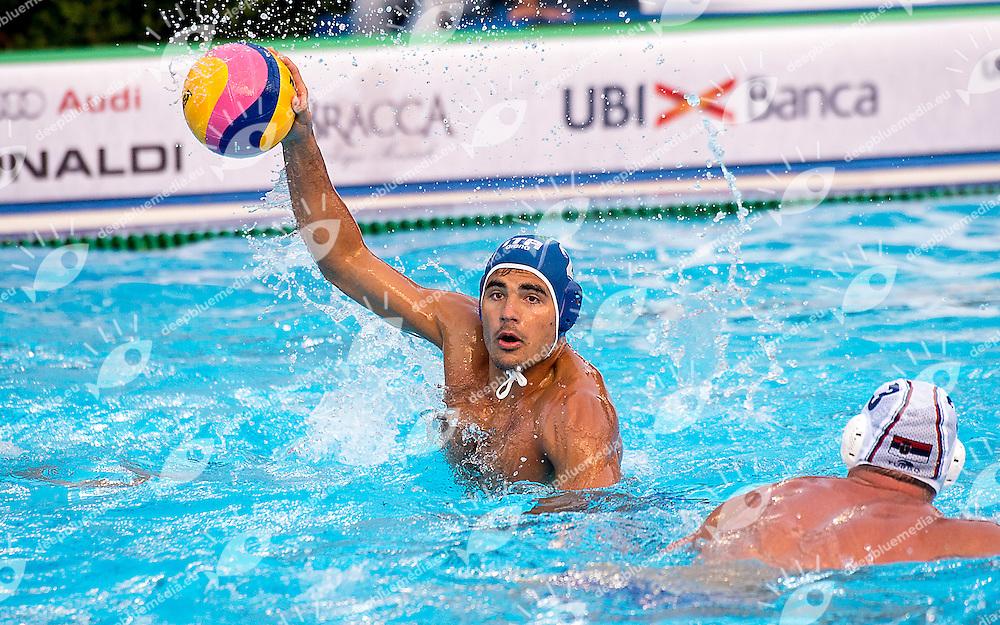 2 DI FULVIO Francesco ITA<br /> Serbia SRB (white) - Italy ITA (blue)<br /> day 02 - 24/06/2015<br /> FINA Water Polo World League Superfinal Men<br /> Bergamo (ITA) 23-28 June 2015<br /> Photo G.Scala/Deepbluemedia