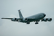 A US Air Force Boeing KC-135 Stratotankerat on final approach at RAF Mildenhall on 10 June 2020. RAF Mildenhall on 10 June 2020.