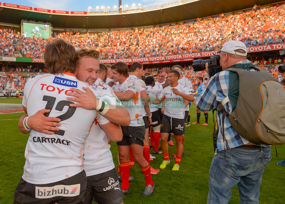Cheetahs celebrating during the Currie Cup Final between the The Free State Cheetahs and Blue Bulls held at Toyota Stadium (Free State Stadium), Bloemfontein, South Africa on the 22nd October 2016<br /> <br /> Photo by:   Frikkie Kapp / Real Time Images