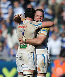 Dean Mumm and Kai Horstmann (both Exeter) celebrate at the final whistle - Photo mandatory by-line: Patrick Khachfe/JMP - Tel: Mobile: 07966 386802 09/03/2014 - SPORT - RUGBY UNION - The Recreation Ground, Bath - Bath v Exeter Chiefs - LV= Cup.