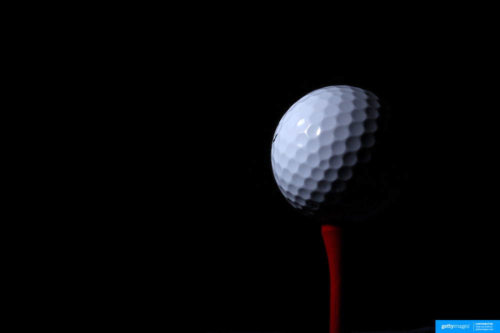 A studio shot of a Golf Ball on a tee. 20th October 2012. Photo Tim Clayton