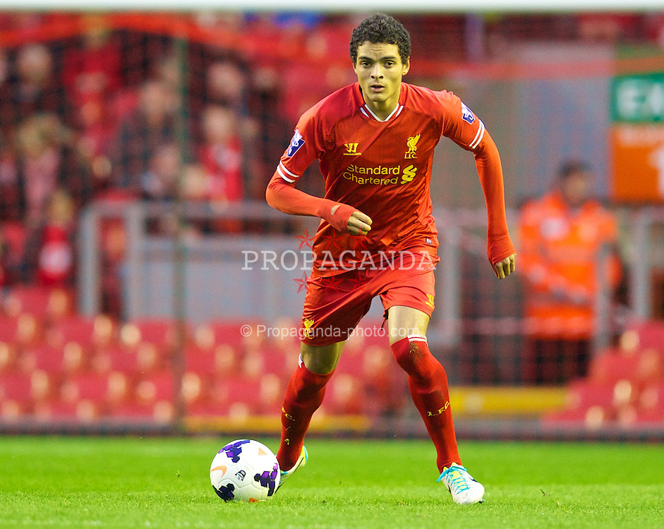 LIVERPOOL, ENGLAND - Tuesday, September 17, 2013: Liverpool's Tiago Ilori in action against Sunderland during the Under 21 FA Premier League match at Anfield. (Pic by David Rawcliffe/Propaganda)