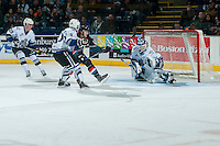 KELOWNA, CANADA - OCTOBER 26: Griffen Outhouse #30 of the Victoria Royals makes a second period save on a shot by Jake Kryski #14 of the Kelowna Rockets on October 26, 2016 at Prospera Place in Kelowna, British Columbia, Canada.  (Photo by Marissa Baecker/Shoot the Breeze)  *** Local Caption ***