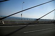 cables of a modern suspension bridge
