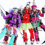 A group of girls on a bachelorette party drop some backcountry lines in the Tetons.