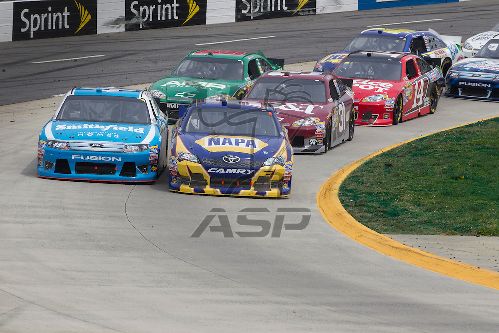 Martinsville, VA - APR 01, 2012:  Aric Almirola (43) races for position during the Goody's Fast Relief 500 race at the Martinsville Speedway in Martinsville, VA.