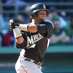 March 12, 2011; Fort Myers, FL, USA; Florida Marlins third baseman Emilio Bonifacio (1) during a spring training exhibition game against the Boston Red Sox at City of Palms Park. The Red Sox defeated the Marlins 9-2.  Mandatory Credit: Derick E. Hingle