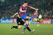 Scott Dann in action during the Premier League match between Crystal Palace and Brighton and Hove Albion at Selhurst Park, London, England on 16 December 2019.