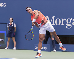 August 31, 2018 - New York, New York, United States - Rafael Nadal of Spain serves during US Open 2018 3rd round match against Karen Khachanov of Russia at USTA Billie Jean King National Tennis Center (Credit Image: © Lev Radin/Pacific Press via ZUMA Wire)