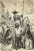 Le Picador Calderon [Picador arrives at the Bull fight arena] Page illustration from the book 'L'Espagne' [Spain] by Davillier, Jean Charles, barón, 1823-1883; Doré, Gustave, 1832-1883; Published in Paris, France by Libreria Hachette, in 1874