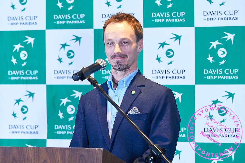 GDANSK, POLAND - 2016 MARCH 02: Radoslaw Szymanik - captain national team of Poland speaks while official dinner at Sheraton Hotel two days before the Davies Cup / World Group 1st round tennis match between Poland and Argentina at Ergo Arena on March 2, 2016 in Gdansk, Poland<br /> <br /> Picture also available in RAW (NEF) or TIFF format on special request.<br /> <br /> Any editorial, commercial or promotional use requires written permission.<br /> <br /> Mandatory credit:<br /> Photo by &copy; Adam Nurkiewicz / Mediasport