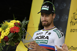 July 20, 2018 - Valence, FRANCE - Slovak Peter Sagan of Bora-Hansgrohe celebrates on the podium after winning the 13th stage in the 105th edition of the Tour de France cycling race, from Bourg d'Oisans to Valence (169,5 km), France, Friday 20 July 2018. This year's Tour de France takes place from July 7th to July 29th. BELGA PHOTO YORICK JANSENS (Credit Image: © Yorick Jansens/Belga via ZUMA Press)