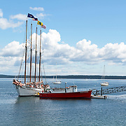 The four masted sightseeing sailing vessel the Margaret Todd at its dock. Bar Harbor, Mount Desert island, Maine, USA