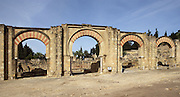 The Great Portico, Caliph?s Palace of Madinat az-Zahra erected by Abd ar-Rahman III who imitated the Abbasid caliphs in Baghdad in building a royal city just outside the city of Cordoba itself, 936-945 AD, Madinat az-Zahra, Cordoba, Andalusia, Spain. Picture by Manuel Cohen