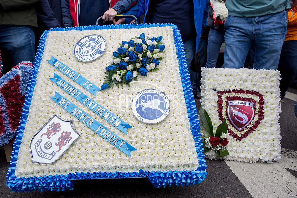 Millwall Football Club and Morecombe FC wreaths during the Football Lads Alliance march between Park Lane and Westminster Bridge, London on 7 October 2017. Photo by Phil Duncan.