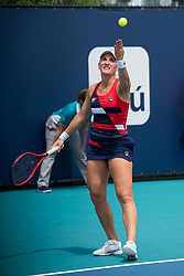 March 18, 2019 - Miami Gardens, FL, U.S. - MIAMI GARDENS, FL - MARCH 18: Timea Babos (HUN) in action during the Miami Open on March 18, 2019 at Hard Rock Stadium in Miami Gardens, FL. (Photo by Aaron Gilbert/Icon Sportswire) (Credit Image: © Aaron Gilbert/Icon SMI via ZUMA Press)