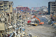 TIANJIN, CHINA - AUGUST 17: (CHINA OUT) <br /> <br /> Rescuers work at the blast site after the warehouse explosion on August 17, 2015 in Tianjin, China. The death toll rose to 114 on Monday after the last Wednesday night\'s explosion of a warehouse in Binhai New Area of Tianjin.<br /> ©Exclusivepix Media