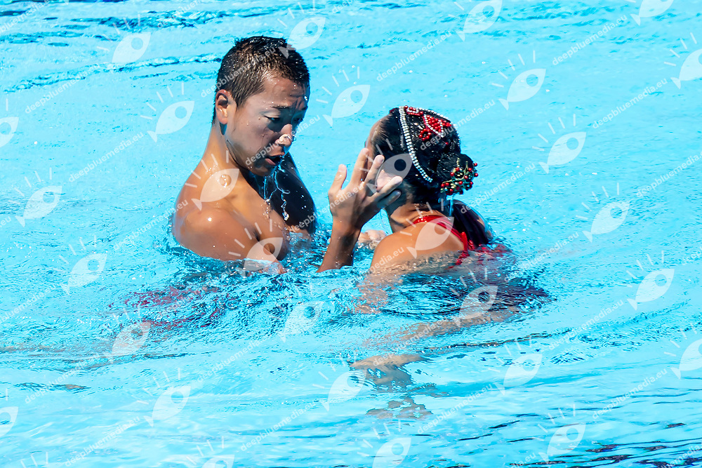 ABE Atsushi ADACHI Yumi JPN <br /> Duet Technical Final<br /> Synchronised swimming , Synchro<br /> 17/07/2017 <br /> XVII FINA World Championships Aquatics<br /> City Park - Varosliget Lake<br /> Budapest Hungary <br /> Photo Andrea Staccioli/Deepbluemedia/Insidefoto