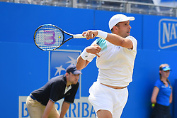 June 23, 2017 - London, United Kingdom - Gilles Muller of Luxembourg plays the AEGON Championships 2017 quarter final at the Queen's Club, London on June 23, 2017. (Credit Image: © Alberto Pezzali/NurPhoto via ZUMA Press)