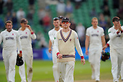 Chris Rogers of Somerset leads his players from the field after thier win over Nottinghamshire during the Specsavers County Champ Div 1 match between Somerset County Cricket Club and Nottinghamshire County Cricket Club at the Cooper Associates County Ground, Taunton, United Kingdom on 22 September 2016. Photo by Graham Hunt.