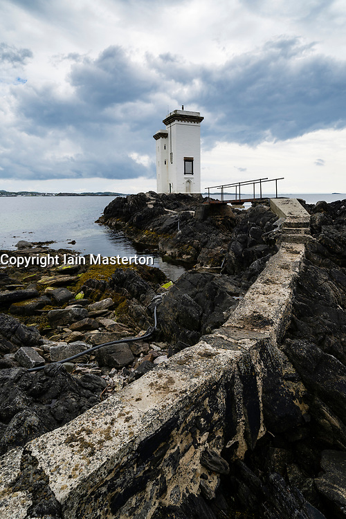 Port Ellen Lighthouse  (Carraig Fhada lighthouse) on Islay in Inner Hebrides, Scotland , UK