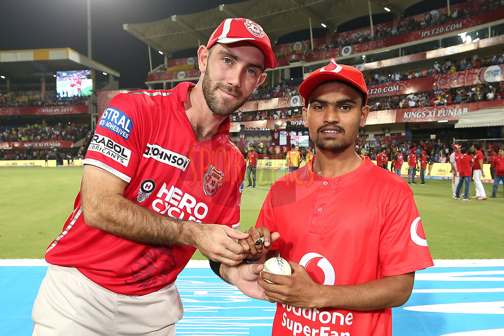 Kings XI Punjab captain Glenn Maxwell with the Vodafone Superfan during match 4 of the Vivo 2017 Indian Premier League between the Kings XI Punjab and the Rising Pune Supergiant held at the Holkar Cricket Stadium in Indore, India on the 8th April 2017<br /> <br /> Photo by Shaun Roy - IPL - Sportzpics