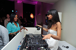 Left to right, KEISHA BUCHANAN and JAMEELA JAMIL at a party to celebrate the announcement of the 20 shortlisted designers for the UK final of the Triumph Inspiration Award 2011 held at the home of Charlotte Stockdale, 8 Francis Street, London SW1 on 31st March 2011.