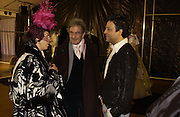 Isabella Blow, Mounir Moufarrige and Zuhair Murad, Zuhair Murad couture collection. Louvre. Paris.  25  January 2006.  ONE TIME USE ONLY - DO NOT ARCHIVE  © Copyright Photograph by Dafydd Jones 66 Stockwell Park Rd. London SW9 0DA Tel 020 7733 0108 www.dafjones.com