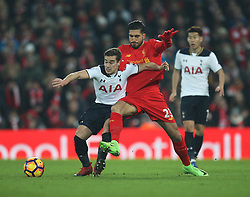 Harry Winks of Tottenham Hotspur (L) and Emre Can of Liverpool in action - Mandatory by-line: Jack Phillips/JMP - 11/02/2017 - FOOTBALL - Anfield - Liverpool, England - Liverpool v Tottenham Hotspur - Premier League