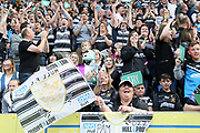 Hull FC fans celebrate a try during the Betfred Super League match between Hull FC and Hull Kingston Rovers at Kingston Communications Stadium, Hull, United Kingdom on 19 April 2019.