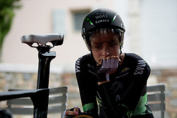 Riejanne Markus waits nervously on Stage 1 of the Giro Rosa - a 11.5 km team time trial, between Aquileia and Grado on June 30, 2017, in Friuli-Venezia Giulia, Italy. (Photo by Sean Robinson/Velofocus.com)