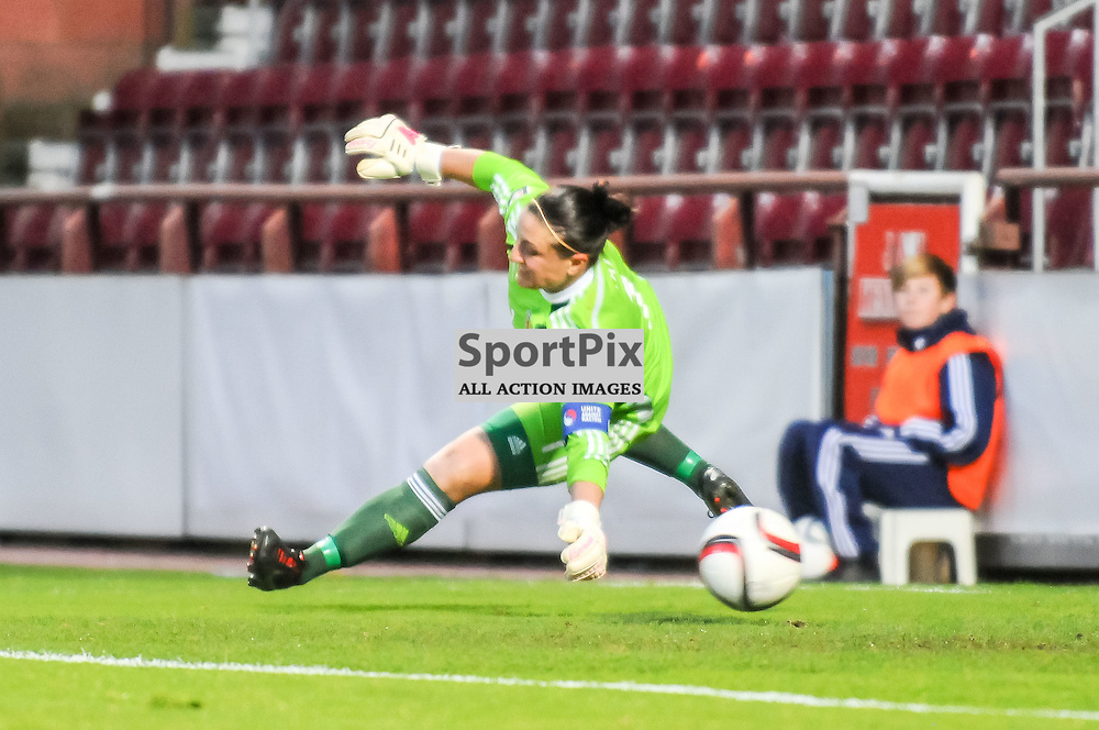 Scotland Goalkeeper Gemma Fay is unable to keep out Netherlands Forward Lieke Martens shot for the opening goal. Action from the semi-final 1st leg of the FIFA Womens World Cup play-off between Scotland and The Netherlands at Tynecastle Stadium in Edinburgh, 25 October 2014. (c) Paul J Roberts / Sportpix.org.uk