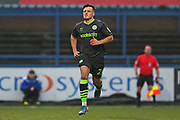Josh March in action during the EFL Sky Bet League 2 match between Macclesfield Town and Forest Green Rovers at Moss Rose, Macclesfield, United Kingdom on 25 January 2020.