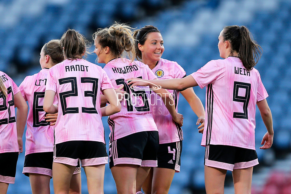 Rachel Corsie (#4) of Scotland celebrates Scotland's third goal (3-2) scored by Sophie Howard (#15) of Scotland during the International Friendly match between Scotland Women and Jamaica Women at Hampden Park, Glasgow, United Kingdom on 28 May 2019.