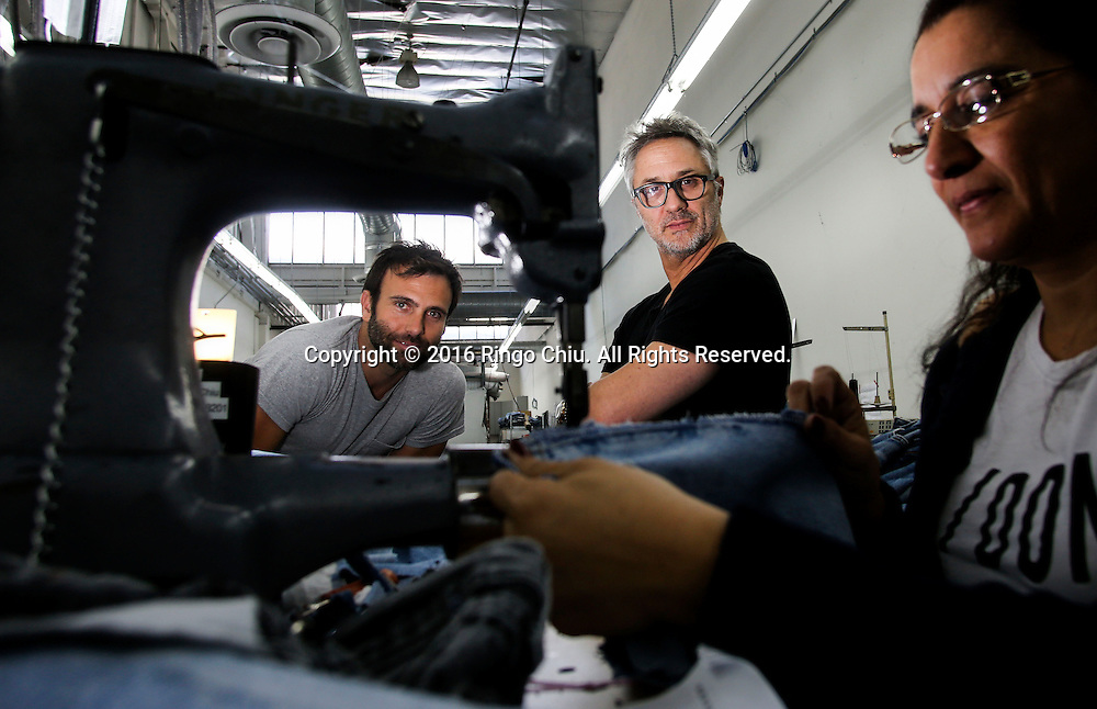 Sean Barron, right, and Hamie Mazur, co-founders of denim company Re/Done.<br /> (Photo by Ringo Chiu/PHOTOFORMULA.com)<br /> <br /> Usage Notes: This content is intended for editorial use only. For other uses, additional clearances may be required.