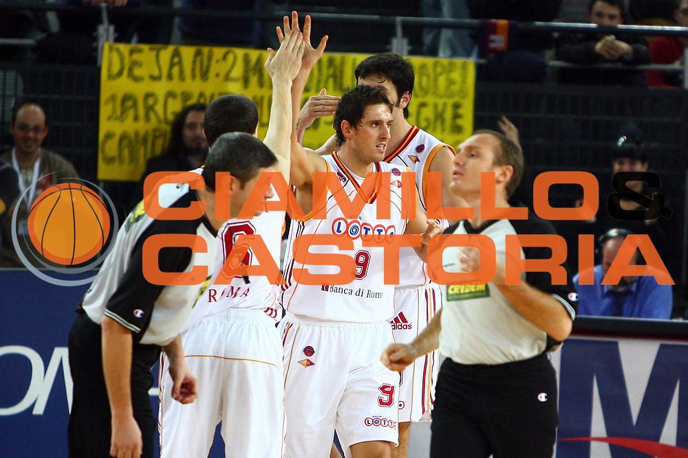 DESCRIZIONE : Roma Lega A1 2006-07 Lottomatica Virtus Roma Benetton Treviso <br /> GIOCATORE : Ilievski Righetti<br /> SQUADRA : Lottomatica Virtus Roma<br /> EVENTO : Campionato Lega A1 2006-2007 <br /> GARA : Lottomatica Virtus Roma Benetton Treviso <br /> DATA : 26/11/2006 <br /> CATEGORIA : esultanza<br /> SPORT : Pallacanestro <br /> AUTORE : Agenzia Ciamillo-Castoria/E.Castoria