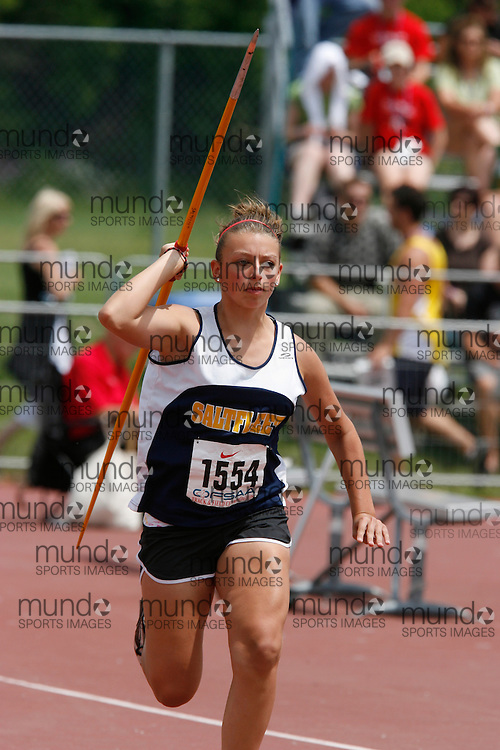 (London, Ontario}---04 June 2010) Chelsey MacLean of Saltfleet - Stoney Creek competing in the midget girls javelin at the 2010 OFSAA Ontario High School Track and Field Championships. Photograph copyright Dave Chidley / Mundo Sport Images, 2010.
