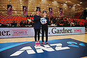 ANZ Future Captains Jordyn Paige Tukukino aged 9 and Teina Davidson aged 9 pose for a photo prior to the match. 2018 ANZ Premiership netball match, Stars v Magic at Pulman Arena, Auckland, New Zealand. 4 July 2018 © Copyright Photo: Anthony Au-Yeung / www.photosport.nz