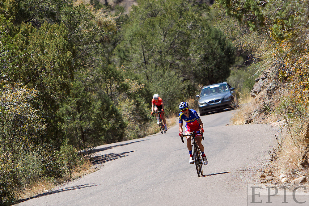 SILVERY CITY, NM - APRIL 18: Oscar Eduardo Snchez Guarn (Canel's-Specialized) drops Robert Britton (Rally Cycling) on the way to the finish of stage 1 of the Tour of The Gila on April 18, 2018 in Silver City, New Mexico. (Photo by Jonathan Devich/Epicimages.us)