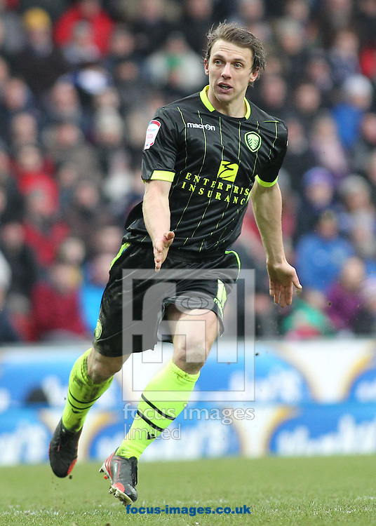 Picture by Michael Sedgwick/Focus Images Ltd +44 7900 363072.23/02/2013.Stephen Warnock of Leeds United in action against Blackburn Rovers during the npower Championship match at Ewood Park, Blackburn.