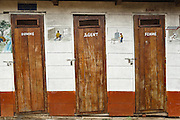 Latrines outside the Tabacongo health center, in the town of Tabacongo, Katanga province, on Sunday February 19, 2012.