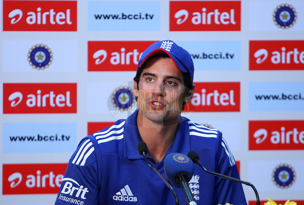 Alastair Cook of England addresses the media in the post match press conference during the 4th Airtel ODI Match between India and England held at the PCA Stadium, Mohal, India on the 23rd January 2013..Photo by Ron Gaunt/BCCI/SPORTZPICS ..Use of this image is subject to the terms and conditions as outlined by the BCCI. These terms can be found by following this link:..http://www.sportzpics.co.za/image/I0000SoRagM2cIEc