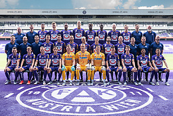 16.07.2019, Generali Arena, Wien, AUT, 1. FBL, FK Austria Wien, Fototermin, im Bild erste Reihe v. l. : Christoph Martschinko, Niels Hahn, James Jeggo, Vesel Demaku, Patrick Penz, Ivan Lucic, Mirko Kos, Dominik Prokop, Dominik Fitz, Manprit Sarkaria, Caner Cavlan. zweite Reihe v. l. : Physiotherapeut Josef Haslinger, Athletiktrainer Quirin Soehnlein, Co-Trainer Duran Sargon, Stephan Zwierschitz, Alexandar Borkovic, Michael Madl, Maximilian Sax, Christoph Monschein, Alon Turgeman, Thomas Ebner, Co-Trainer Dominik Deutschl, Co-Trainer Uwe Hoelzl, Trainer Christian Ilzer. dritte Reihe v. l. : Physiotherapeut Christian Hold, Physiotherapeut Florian Metz, Tarkan Serbest, Benedikt Pichler, Siloe Yateke Sterling, Christian Schoissengeyr, Osagie Bright Edomwonyi, Lamine Maudo Jarjue, Alexander Gruenwald, Florian Klein, Physiotherapeut Christoph Lichtenecker and Torwarttrainer Franz Gruber// during the official team and portrait photoshooting of tipico Bundesliga Club FK Austria Wien for the upcoming Season at the Generali Arena in Vienna, Austria on 2019/07/16. EXPA Pictures © 2019, PhotoCredit: EXPA/ Florian Schroetter