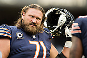 CHICAGO, IL - OCTOBER 22:  Josh Sitton #71 of the Chicago Bears warming up before a game against the Carolina Panthers at Soldier Field on October 22, 2017 in Chicago, Illinois.  The Bears defeated the Panthers 17-3.  (Photo by Wesley Hitt/Getty Images) *** Local Caption *** Josh Sitton