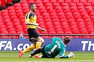 John Campbell of West Auckland is prevented from scoring by Matt Brown of Sholing during the FA Vase match at Wembley Stadium, London<br /> Picture by David Horn/Focus Images Ltd +44 7545 970036<br /> 10/05/2014