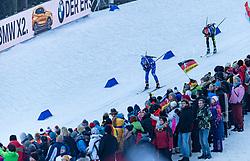 12.01.2018, Chiemgau Arena, Ruhpolding, GER, IBU Weltcup, Staffel, Herren, im Bild v.l.: Lukas Hofer (ITA), Benedikt Doll (GER) // f.l.: Lukas Hofer of Italy and Benedikt Doll of Germany during Mens Relay of BMW IBU Biathlon World Cup at the Chiemgau Arena, Ruhpolding, Germany on 2018/01/12. EXPA Pictures © 2018, PhotoCredit: EXPA/ Stefan Adelsberger