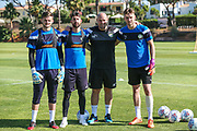 Forest Green Rovers goalkeeper Harry Pickering(24), Forest Green Rovers goalkeeper Sam Russell(23), Forest Green Rovers goalkeeping coach Steve Hale and Forest Green Rovers goalkeeper Bradley Collins(1) during the Forest Green Rovers Training session at Browns Sport and Leisure Club, Vilamoura, Portugal on 24 July 2017. Photo by Shane Healey.