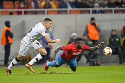 December 7, 2017 - Bucharest, Romania - Harlem Gnohéré (R) of Steaua viess Vladimir Golemic of FC Lugano during the UEFA Europa League group G football match FCSB Steaua Bucuresti vs Energy Investments Lugano, on December 7, 2017 in Bucharest, Romania. (Credit Image: © Alex Nicodim/NurPhoto via ZUMA Press)